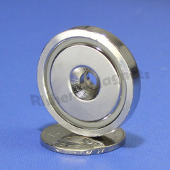 D32mm pot magnet with a M5 countersunk for steel material