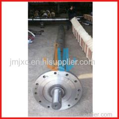 Screw and barrel for chemical fiber extruder