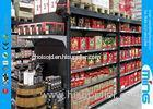 Heavy Duty Black Supermarket Display Shelves Solid Panel , Double Sided