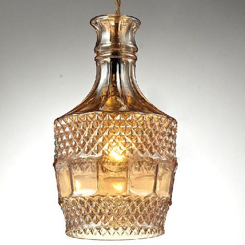 Carved bottle glass chandelier coffee bar glass hanging lamps manufacturer supplier - Glass bottle chandelier ...