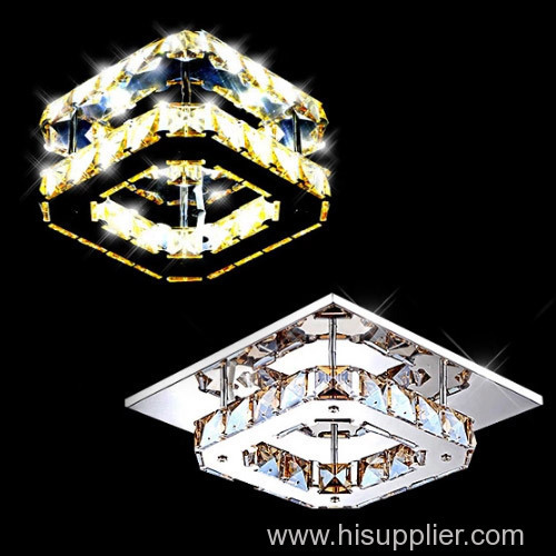Square shape crystal ceiling lamps/ stainless steel crystal LED Ceiling lamp