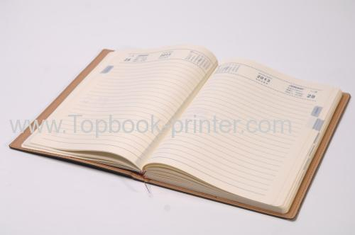 High-grade yellow PU leather embossed cover notebook with ribbons printer
