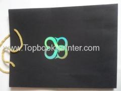 kraft paper gold stamping gift packaging bag with golden/yellow cotton ropes