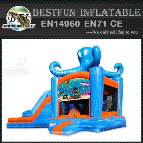 Children Mini Blue Octopus Inflatable Bouncer