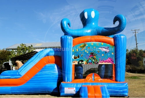 Cheap commercial inflatable octopus combo with slide