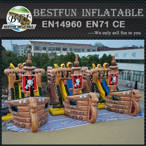 Pirate theme inflatable outdoor bouncer slide