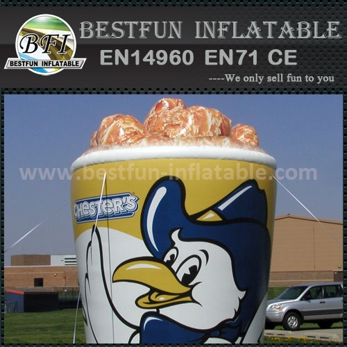Costom logo printed inflatable fried chicken bucket model
