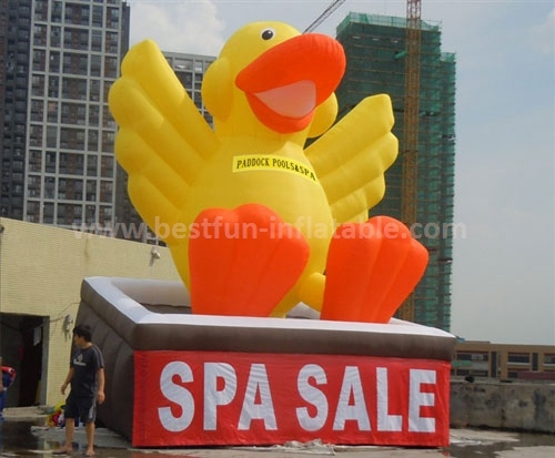 Inflatable yellow duck for advertising