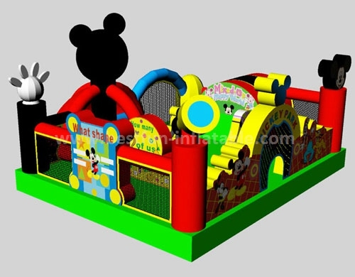 Children play Inflatable Mickey Obstacle course