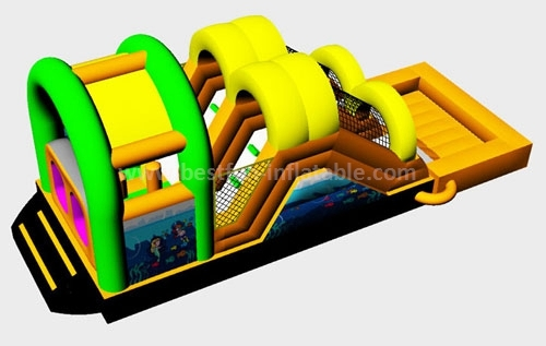 EN14960 new designed inflatable slide obstacle course