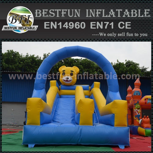 Funny bear inflatable dry slide for kids