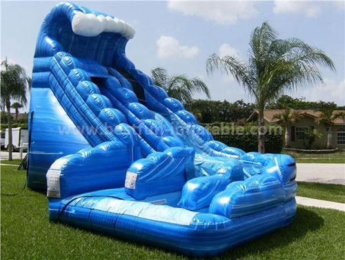 Blue curve giant inflatable slide for adult