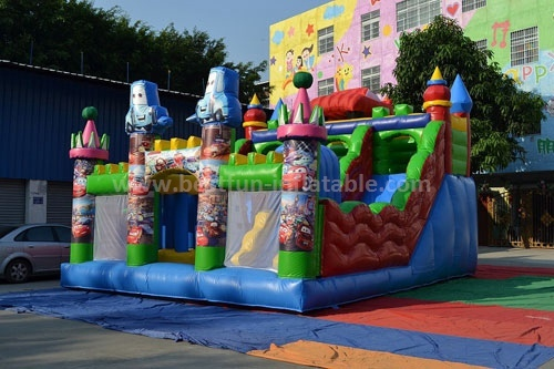 Digital printing cartoon inflatable slide car for rental