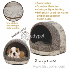 hotsale linen fabric soft push dog bed