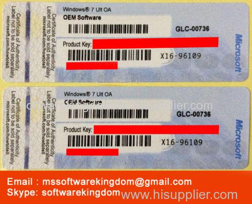 Windows win 7 ult COA Label Sticker License Key Card X16