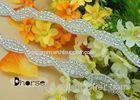 Wedding Dress Iron On Rhinestone Trimming , Silver Beaded Applique Trim