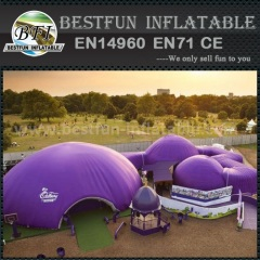 Outdoor inflatable tent combination