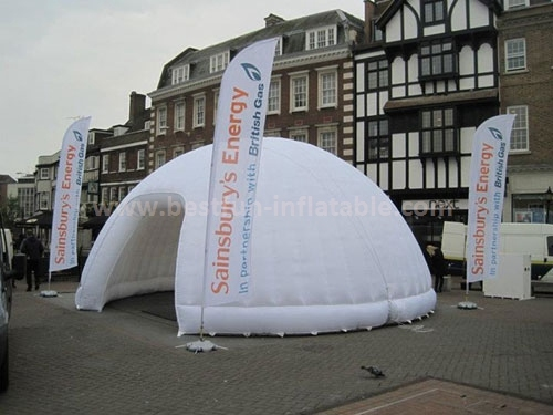 White inflatable tent round advertising