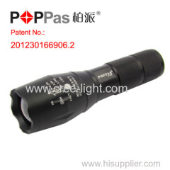 Stormeye Patent Design 500LM CREE XML-T6 Telescopic High Power 18650 Rechargeable Black LED Flashlight POPPAS-S2