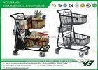 Powder Coated Supermarket Shopping Trolley / Two Layers Shopping Cart With Rear Bottom Tray