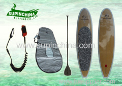 Fiberglass Retro Nose standing paddle board Bamboo Veneer custom sup boards