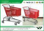 Custom made Unfoldable Supermarket Shopping Trolley with wheels , red color