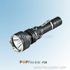 400Lumens CREE XM-L T6 Rechargeable Brightest Black 1*18650 Battery Tactical or Camp LED Flashlight POPPAS-F26