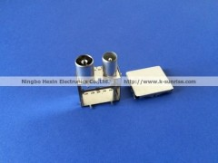 RF connector with shielding, copper terminal pin