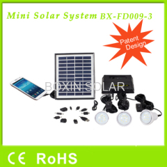 Mini rechargeable solar home systems with 3 bulbs and mobile phone charger