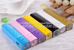 2000mah Diamond Design Portable Slim Power Bank with High Light LED Torch