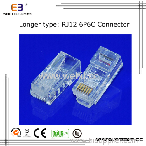 Telephone connector RJ12 6P6C UTP connector with longer body