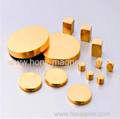 Gold Coating Neodymium Magnetic Disc Magnet