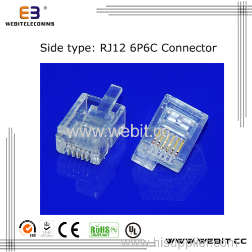 Telephone connector RJ12 6P6C UTP connector with right-left clip