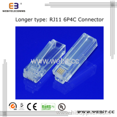 Telephone connector RJ11 6P4C UTP connector with longer body