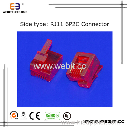 Telephone connector RJ11 6P2C UTP connector with right-left clip