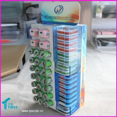 China Supplier Online Shopping Mobile Phone Cable Display Cabinet Acrylic Clear Car Charger Display Case
