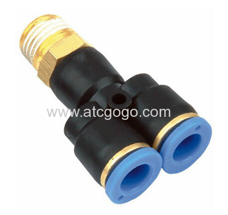 Y type hose connector high quality 1/8 1/4 thread quick fitting for plastic tube connector