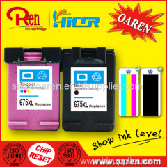 for HP 675 Printer Ink Cartridge Black Show Ink Level
