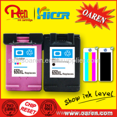 for HP 650 Color Ink Cartridge Show Ink Level