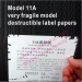 Custom 11A Very Fragile Grade Ultra Destructible Vinyl Materials from China Factory