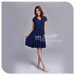 Apparel & Fashion Skirts & Dresses Bamboo Fiber Ladies knee above Summer Spring pleated Dress