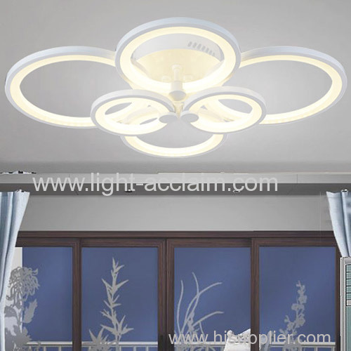 Six ring shaped living room LED acrylic ceiling lamp for sale