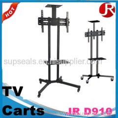 Height adjustable back to back double screen TV cart