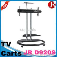 metal frame height adjustable tv carts with wheels vesa mount with dvd bracket