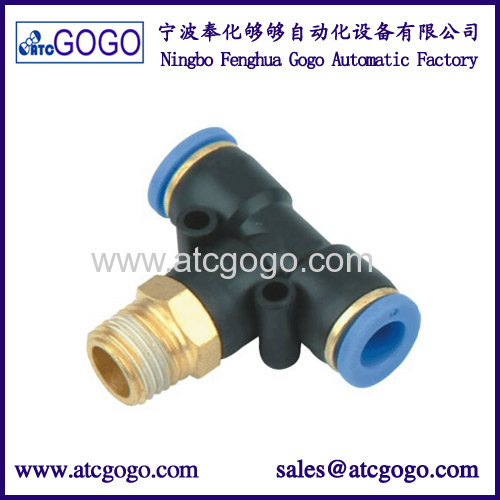 "t joint 6mm 3/8"" pp fitting 3 way pipe connector 6mm M5 pneumatic hose fittings"