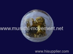 Acrylic Globe Transparent Wind up Mechanical Music Box 18 Note Golden Musical Mechanism