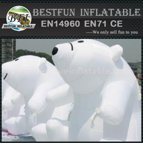 Giant white inflatable bear