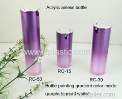 Plastic Cosmetic Round Airless lotion Bottle with pump