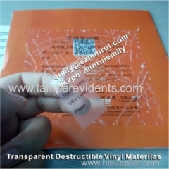 Custom Jumbo roll of transparent clear destructible vinyl rolls