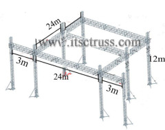 24x24x12m Giant plat roof 8 tower truss system